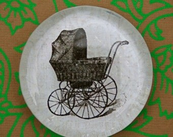 Glass Magnet Old Fashioned Baby Carriage - Jumbo Glass Magnet