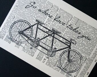 Tandem Bike Print - Vintage Latin Dictionary Page Print - 5 x7 Go where love takes you Tandem Bicycle Print - Bike Art Valentines Day Gift