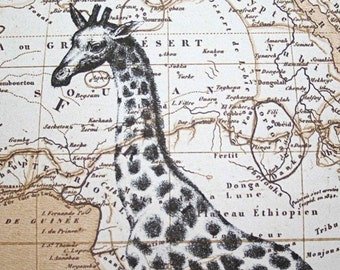 Giraffe Print Map Art - Map of Africa - 5 x 7 Giraffe Map Print Giraffe Art - Safari Art