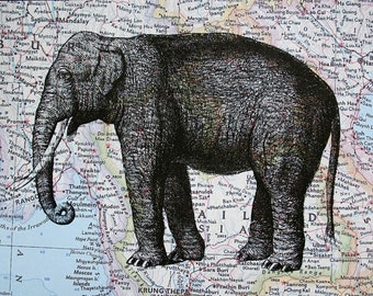 Elephant Print on Map of Thailand and Burma - 5 x 7 Asian Elephant Print