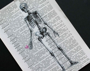 Skeleton Print on Vintage Medical Dictionary Page - 5 x 7 Skeleton Valentine Print - Valentines Day, Halloween Print, Halloween Skeleton