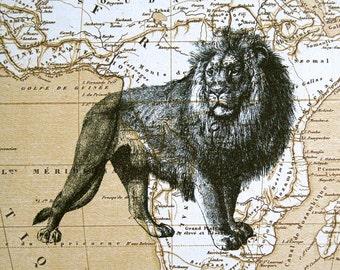 Lion Print on Map of Africa - 5 x 7 Lion Map Print - Safari Print - Safari Decor