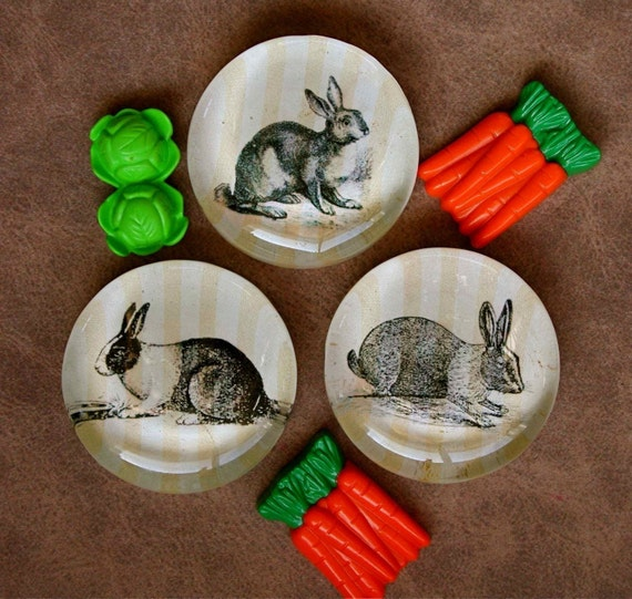 Rabbit Magnets - Set of 3 Bunny Magnets - Large Glass Magnets - Cute Easter Bunny Magnets