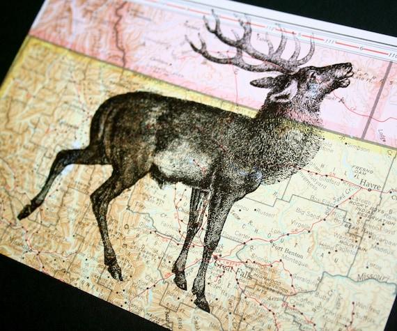 Deer on Vintage Map Montana - 5 x 7