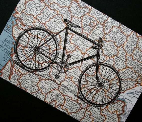 Tour de France Bicycle Print on Map of France - 5 x 7 Bike Print French Map Print