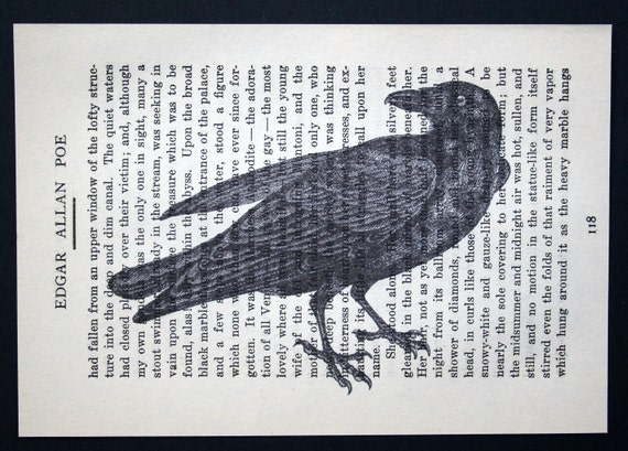 Raven Crow Print on Vintage Edgar Allan Poe Page - 4 1/2 x 6 1/2 Black Crow