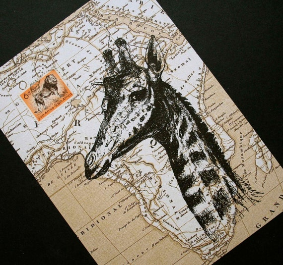 Giraffe Print on Map of Africa with Vintage Postage Stamp - 5 x 7 Giraffe Map Print Collage