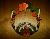 Entirely crocheted Thanksgiving or Fall wreath