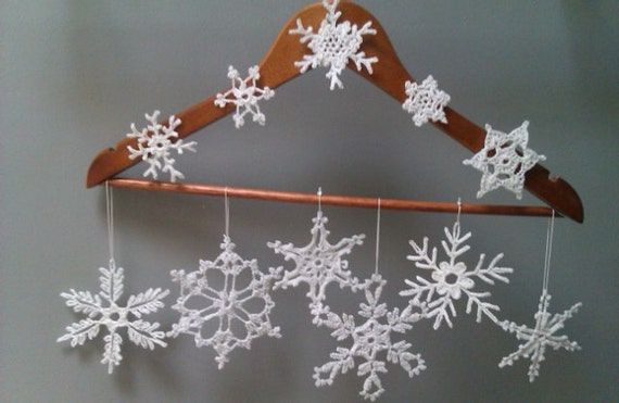 14 Crocheted Snowflakes Ornaments 3 different sets for you to choose from beautiful work