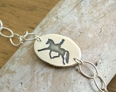Olympic Equestrian Bracelet horse and rider dressage trot handmade recycled Fine Silver oval link .925 Sterling chain