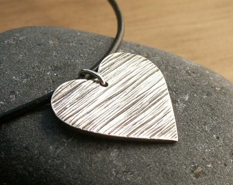 Silver Heart Necklace Sterling Silver Necklace Black Leather Cord Romantic Goth Handmade Pendant Fine Silver Black Silver Jewelry