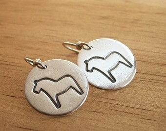 Large Swedish Dala Horse Earrings sterling earwires handmade recycled Fine Silver charms traditional folk Sweden design artisan jewelry