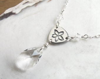 Sparkling Crystal Necklace sterling silver and crystal with fine silver handmade unique flower link pendant