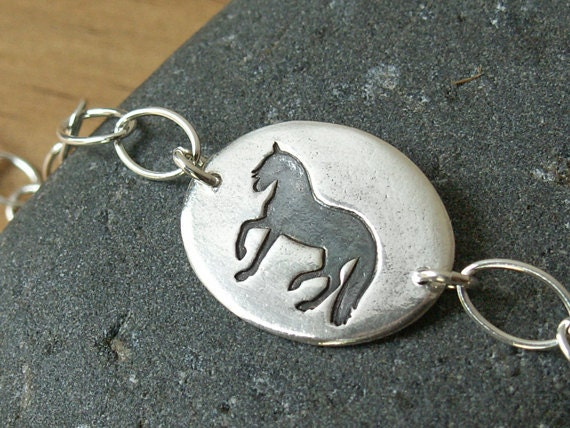 Trotting Horse Bracelet handmade dressage piaffe Andalusian recycled fine silver pendant on .925 sterling chain
