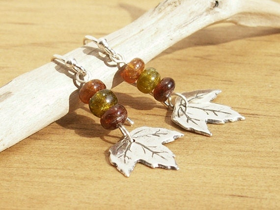 Autumn Leaves Earrings fall colors tourmaline sterling earwires handmade recycled fine silver leaf nature design