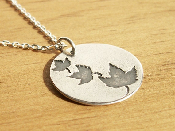 Falling Leaves Necklace .925 sterling chain handmade nature maple leaf autumn design in recycled Fine Silver round circle charm pendant