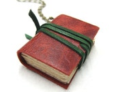 Red Leather Book Necklace - Nicopapergoods