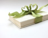 Cream-Colored Wedding Photo Album/Accordion Book with Green-Colored Ribbon