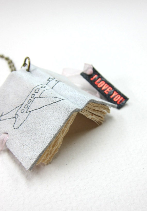 "Blank light Gray Leather Book Necklace/Jewelery/Mini Diary-Airplane ""I Love You"""