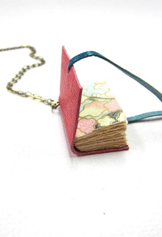 Salmon Leather Book Necklace