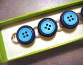 Vintage Button Bracelet-Blue Tones