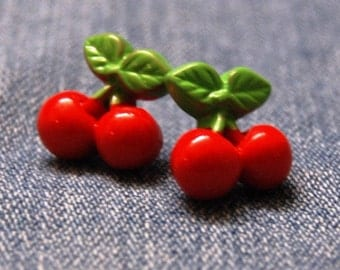 Red Cherry Earrings-surgical steel posts