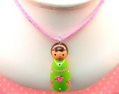 Custom Hand Painted Personalized Wood Doll Pendant (Fern, A Posy Girl)
