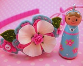 Personalized Hand Painted Wooden Doll Necklace and Felt Flower Headband Gift Set