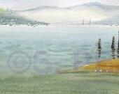 Summer Fog, Astoria Afternoon - Original Watercolor