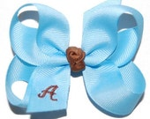 Monogram Initial Bow - Baby Headband Bow - Toddler Bow - Infant Bow - Baby Bow - Medium Size Grosgrain Bow - 80 Color Choices