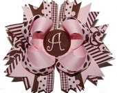 Custom Embroidered Pink & Brown Monogram Initial Bow
