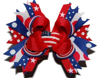 Petite Red, White & Blue Patriotic Bow - Baby Bow - Toddler Bow - Headband Bows