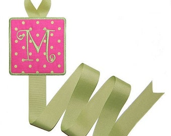 Custom Embroidered Initial Bow Holder ABSD