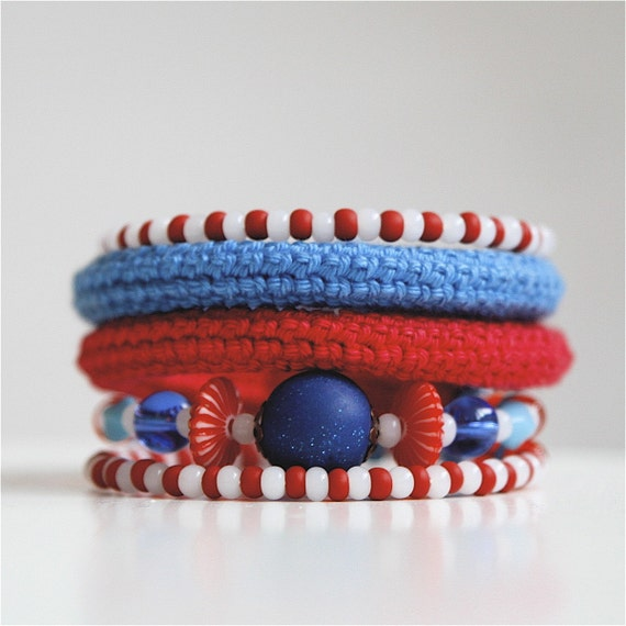 Wrap Crochet Cuff Bracelet in Red, Blue and White