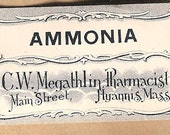 Antique Pharmacy Labels AMMONIA