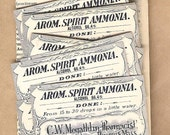 Antique Pharmacy  Apothocary Chemist Labels AROM. SPIRIT AMMONIA