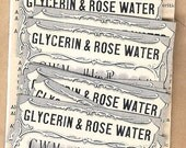 Antique Pharmacy  Apothocary Chemist Labels GLYCERIN & ROSE WATER