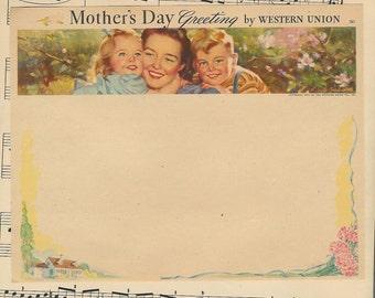 Vintage  Blank Western Union Mothers  Day Greeting Telegram