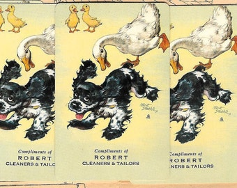5 Vintage Playing Cards - Duck Chasing Spaniel