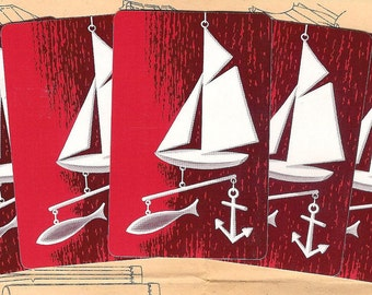 5 Vintage Playing Cards - White Sail Boat