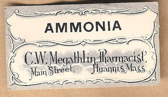 Antique Pharmacy Labels AMMONIA