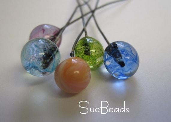 SueBeads - Handmade Glass Headpins Mix 1 - Handmade Lampwork Beads - SRA M67
