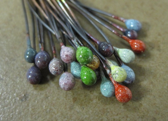 SueBeads - Enamel Head Pin Set - Hand Enameled Beads