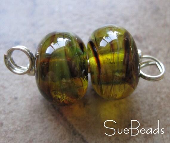 Lampwork Beads - SueBeads - Savannah Swirl Earring Pair- Handmade Lampwork Beads - SRA M67