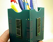 Recycled Vintage CIRCUIT BOARD BLUE Pencil Box Office Geekery pb63