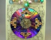 Recycled CIRCUIT BOARD Vintage Moonglow Beads Geek Desk Garden CLOCK