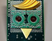 Recycled CIRCUIT BOARD Owl MAGNET Give a Hoot Recycle