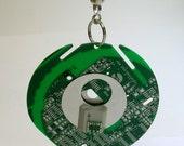 Recycled Vintage Green Circuit Board Geek LIGHT FAN PULL