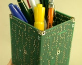 PB9  RECYCLED   CIRCUIT BOARD Medium Green   PENCIL BOX  DESK Holder Organizer OOAK Geekery Repurposed ACCESSORY FOR  SCHOOL Home or Office