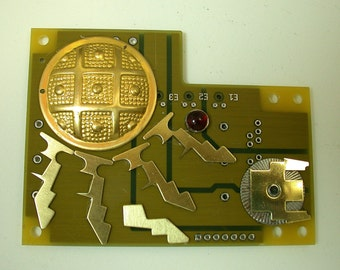 RECYCLED CIRCUIT Board Geekery MAGNET  Here Comes the Sun